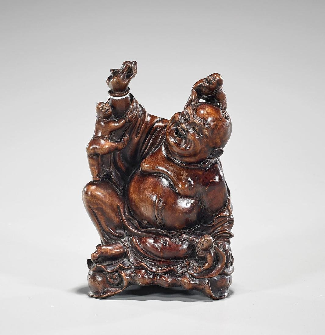 Chinese Carved Hardwood Seated Budai With Boys