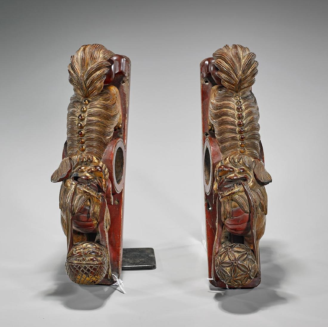 Pair Antique Chinese Gilt & Lacquered Wood Lions