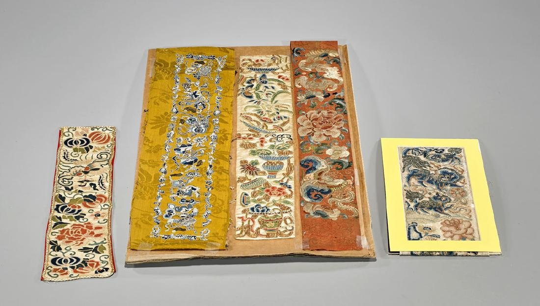 Group of Five Chinese Silk Embroidery Pieces