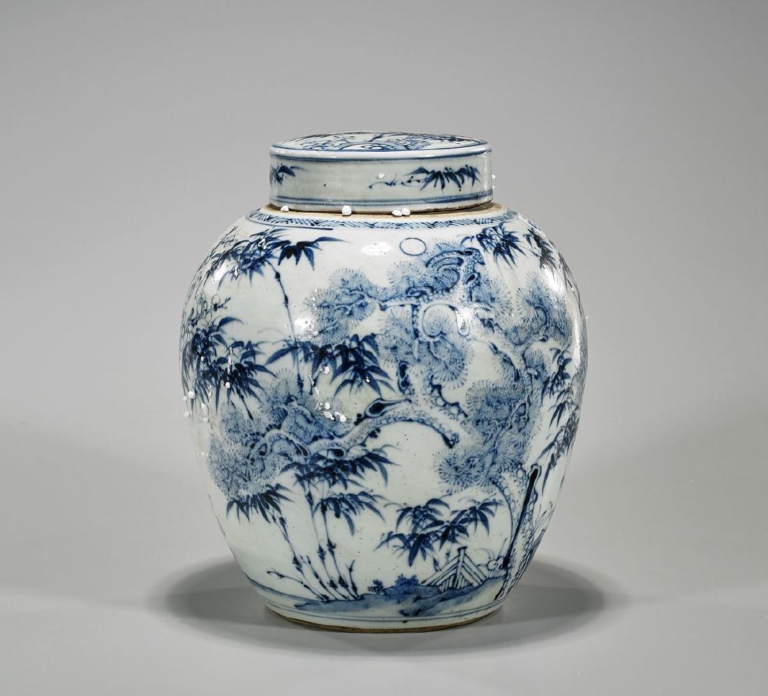 Chinese Blue & White Porcelain Covered Jar