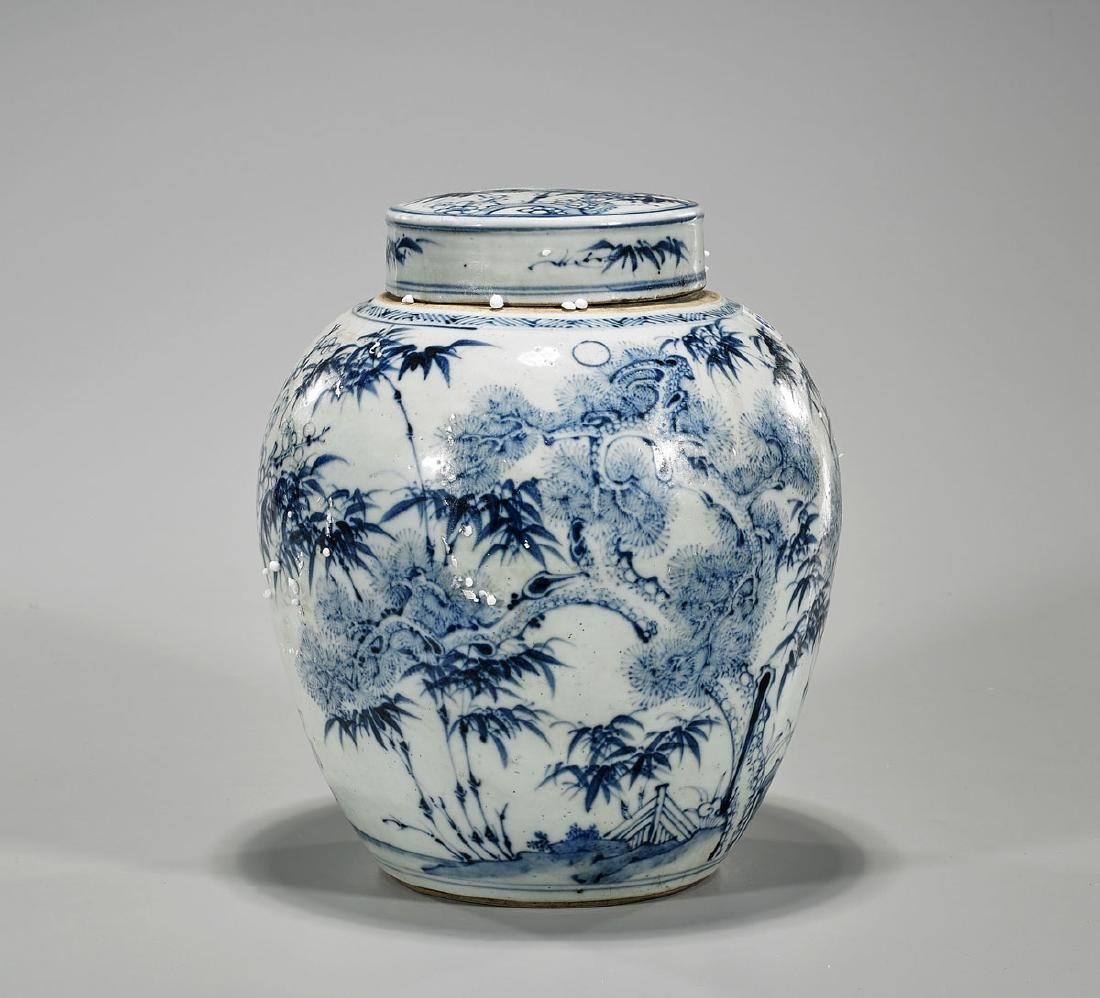 Chinese Blue & White Porcelain Covered Jar