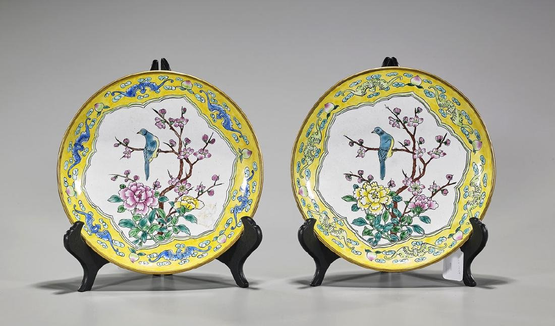 Pair Old Chinese Enamel on Copper Plates