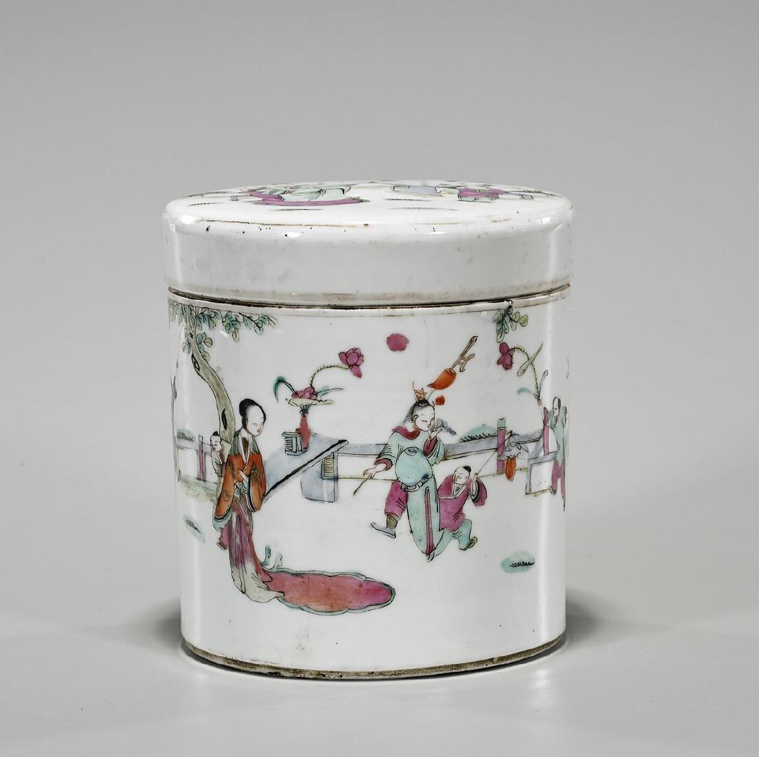 Antique Famille Rose Enameled Porcelain Tea Caddy