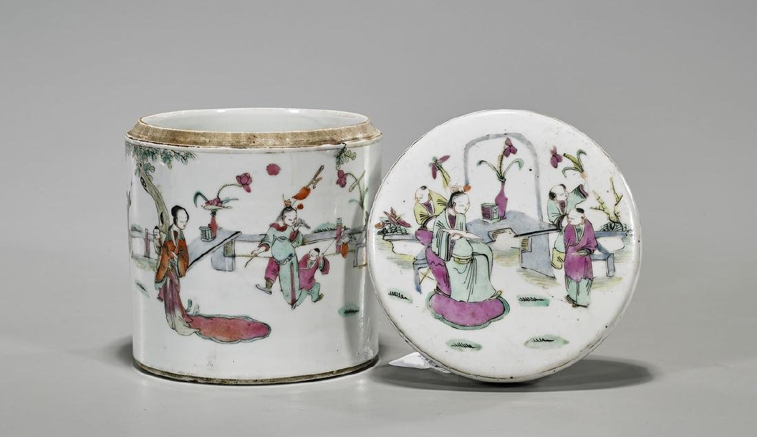Antique Famille Rose Enameled Porcelain Tea Caddy - 2