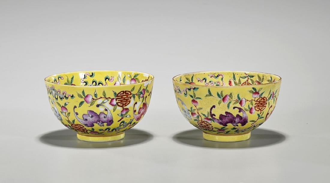Pair Qing-Style Famille Rose Enameled Porcelain Bowls