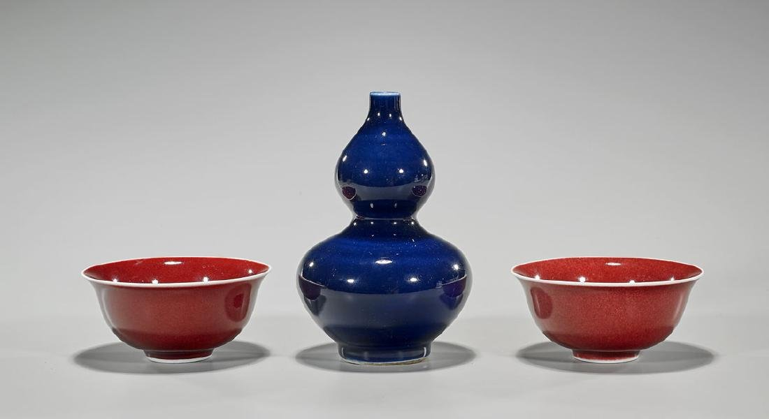 Group of Three Chinese Monochrome Porcelains