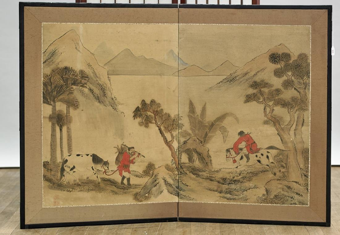 Antique Chinese Two-Panel Screen