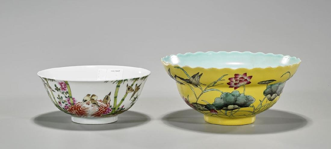 Two Chinese Yongzheng-Style Enameled Porcelain Bowls
