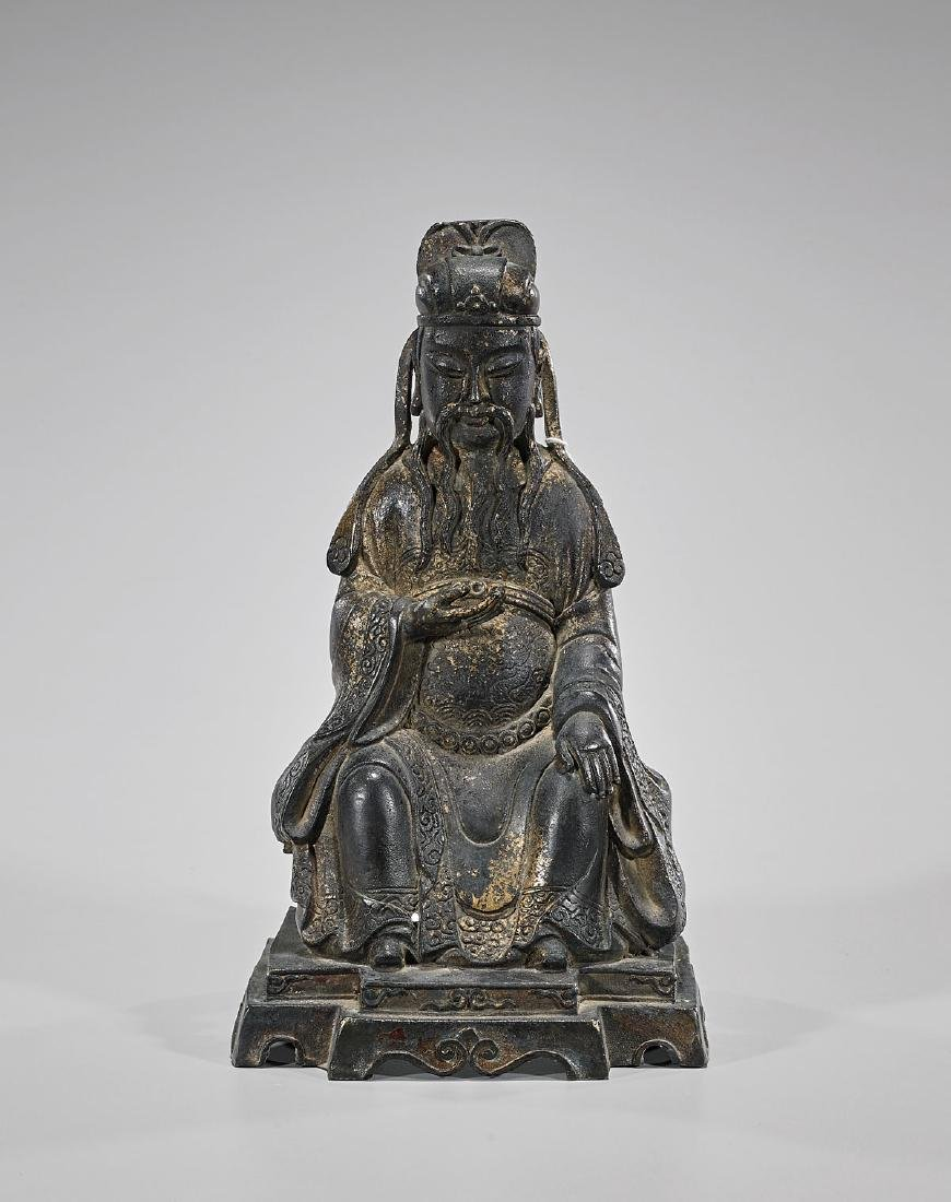 Chinese Ming-Style Parcel-Gilt Bronze Seated Figure