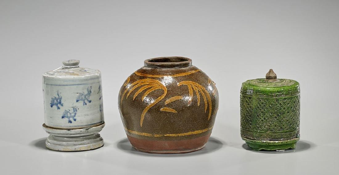 Group of Three Antique Glazed Ceramic Pieces