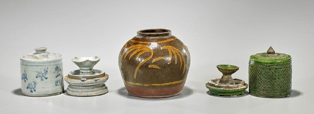 Group of Three Antique Glazed Ceramic Pieces - 2
