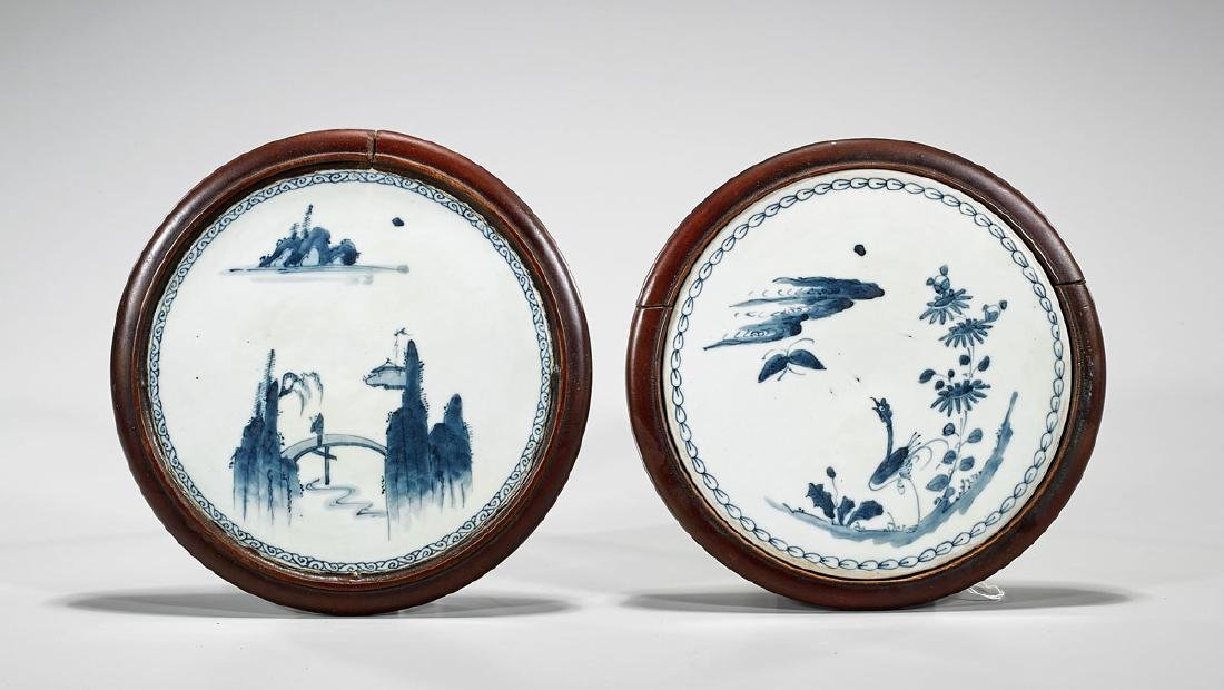 Two Antique Chinese Blue & White Porcelain Plaques