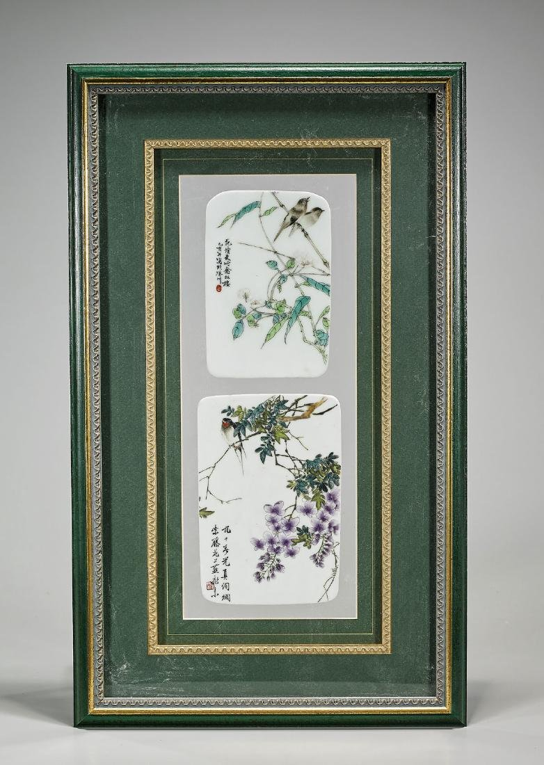 Two Old Chinese Enameled Porcelain Plaques