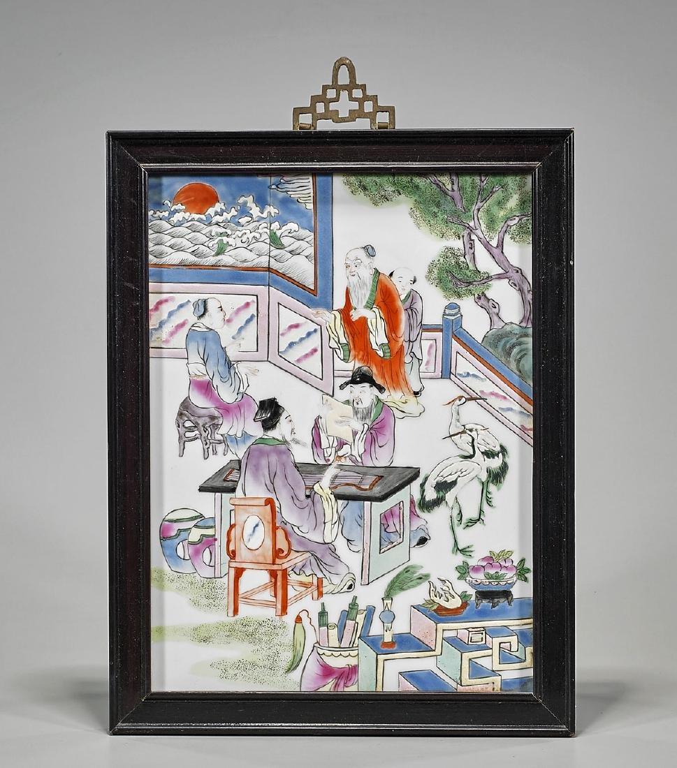 Antique Chinese Famille Rose Enameled Porcelain Plaque