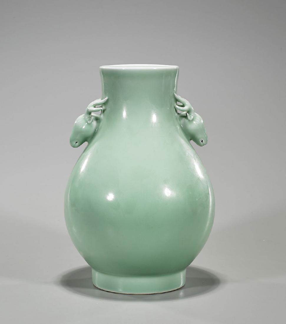 Qing-Style Celadon Glazed Porcelain Vase
