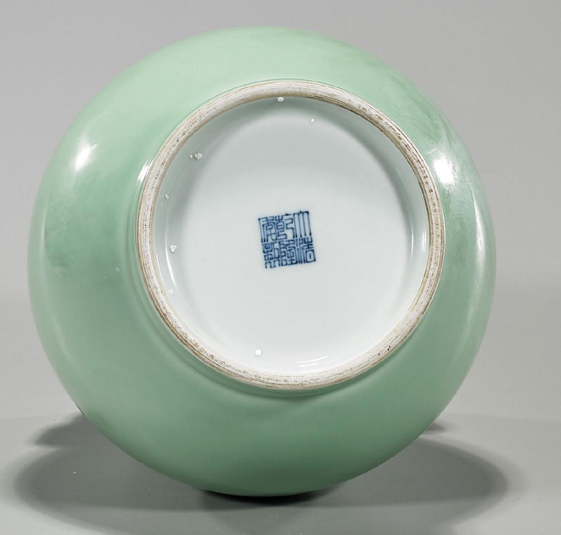 Qing-Style Celadon Glazed Porcelain Vase - 3