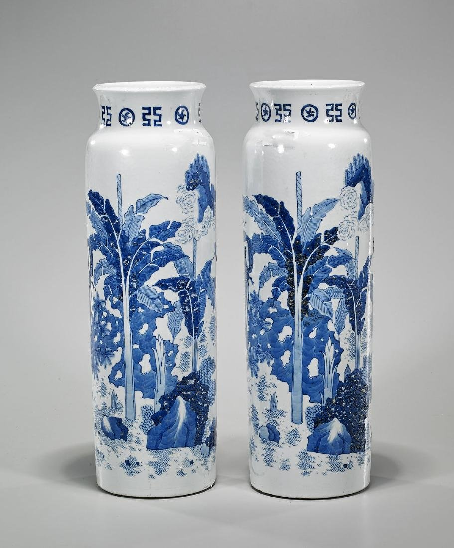 Pair Tall Chinese Blue & White Porcelain Vases - 2