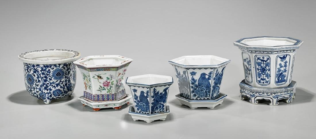 Group of Five Chinese Porcelain Jardinieres