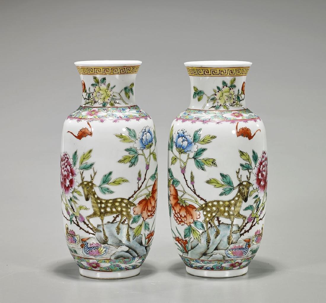 Pair Antique Famille Rose Enameled Porcelain Vases