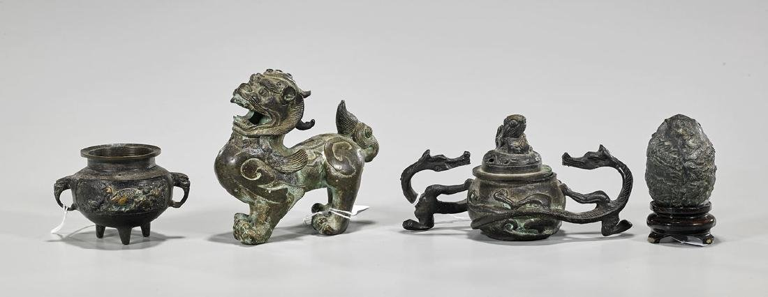 Group of Four Various Chinese & Japanese Bronzes