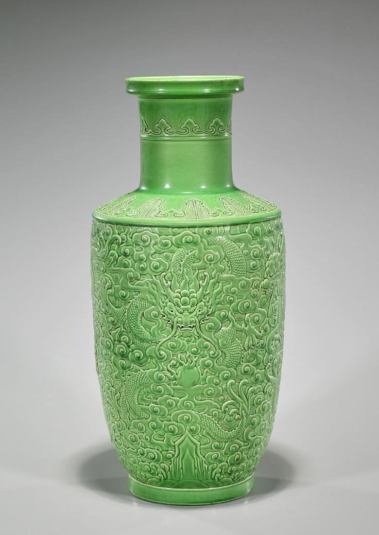 Qing-Style Green Glazed Vase