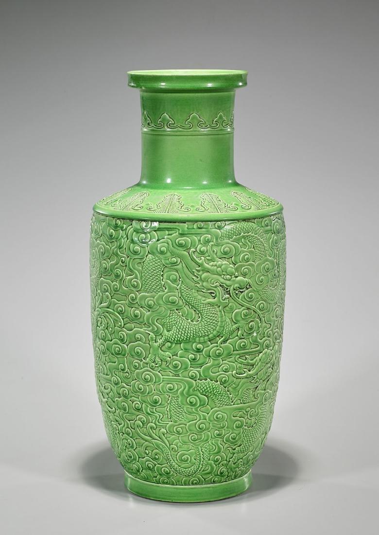 Qing-Style Green Glazed Vase - 2