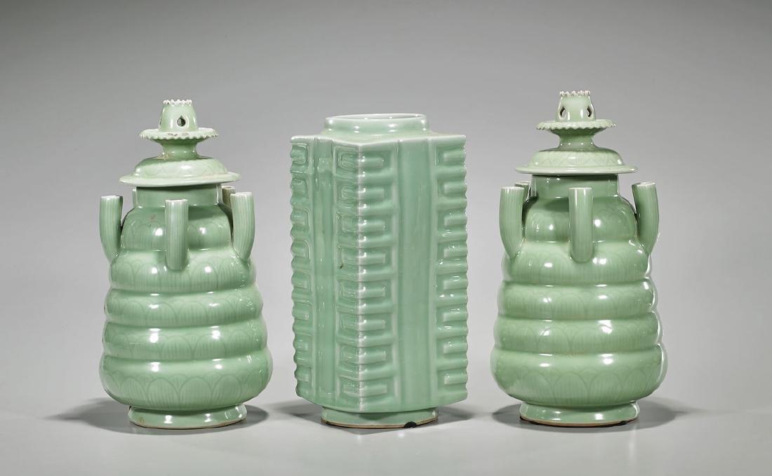 Group of Three Old Celadon Glazed Porcelain Vessels
