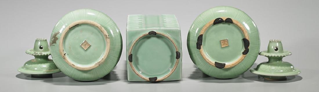 Group of Three Old Celadon Glazed Porcelain Vessels - 2