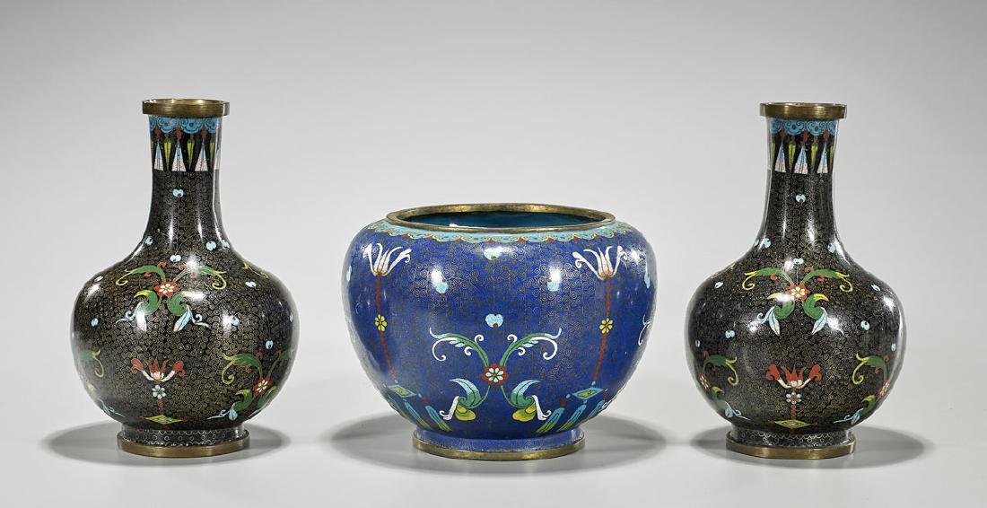 Three Old & Antique Chinese Cloisonne Enamel Vessels