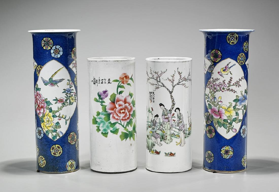 Group of Four Chinese Enameled Porcelain Hat Stands