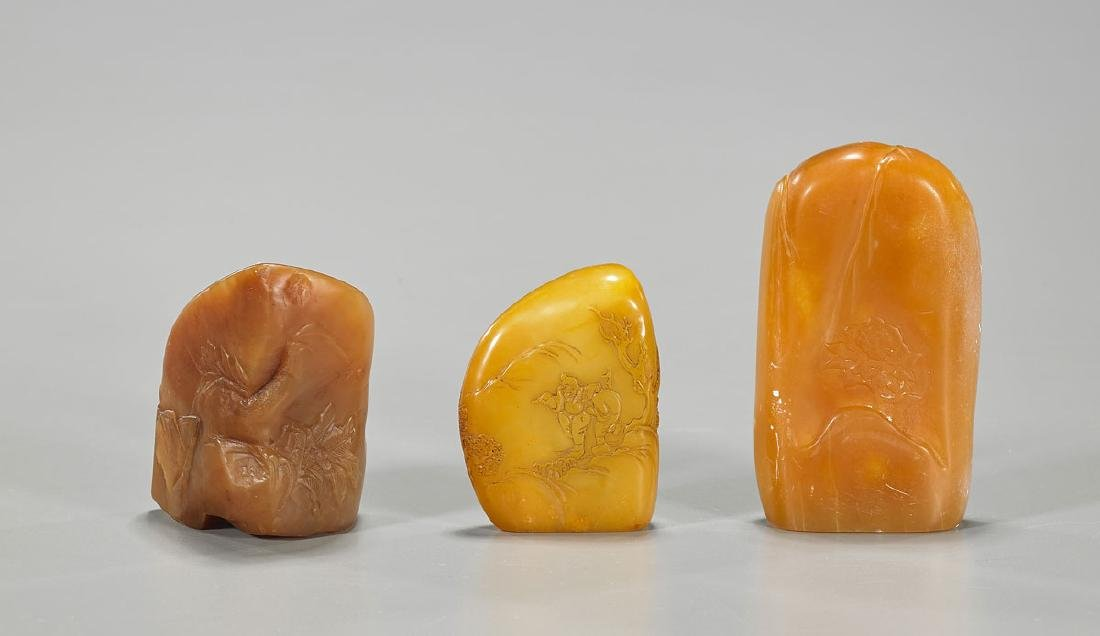 Group of Three Chinese Carved Shoushan Stone Seals - 2