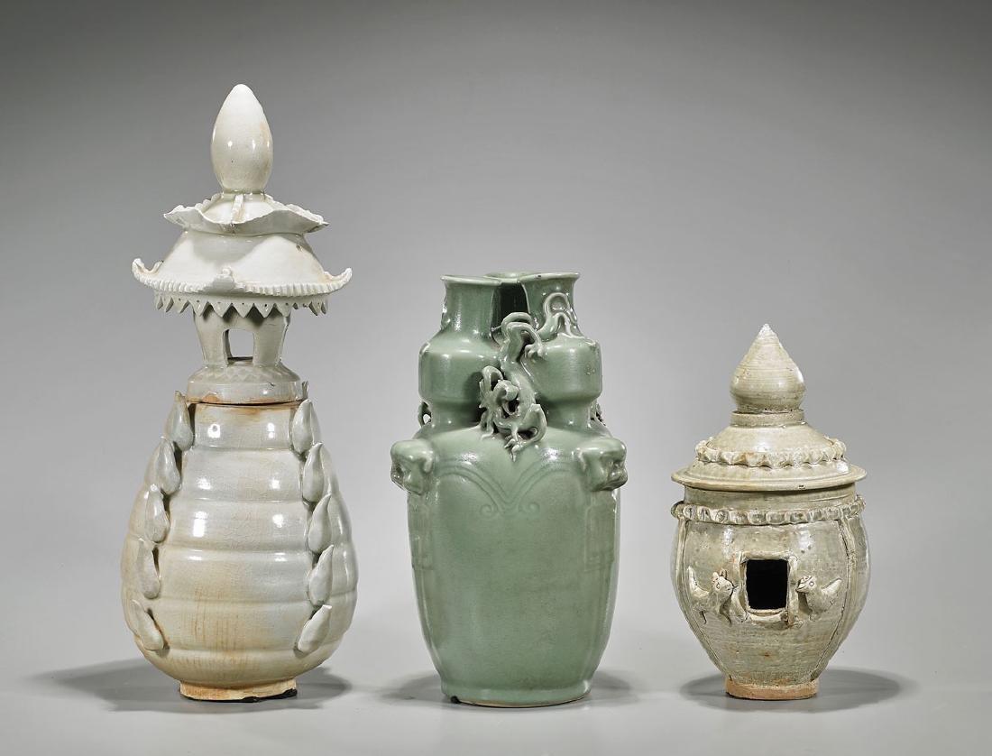 Group of Three Chinese Celadon Glazed Ceramics