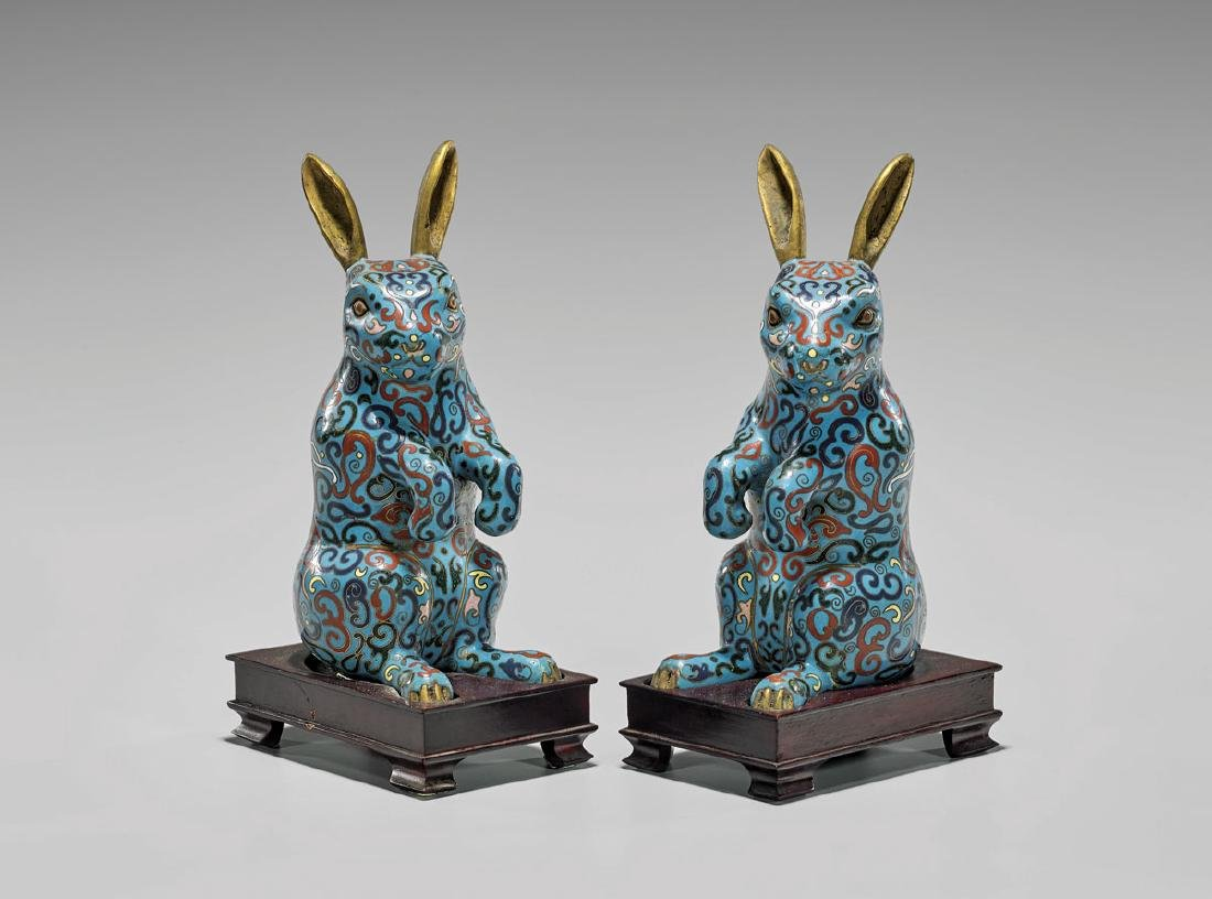 Pair Old Chinese Cloisonne Enamel Rabbits