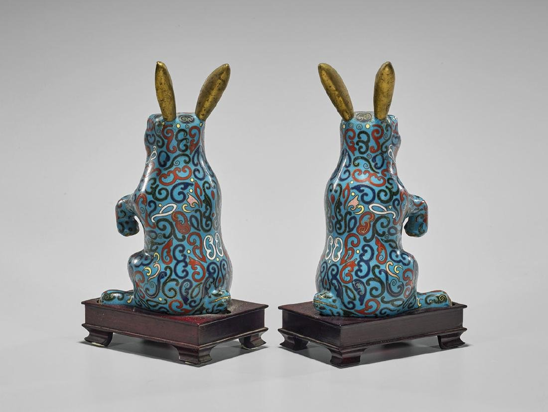 Pair Old Chinese Cloisonne Enamel Rabbits - 2