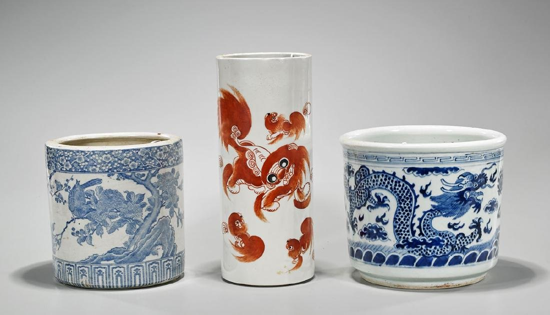 Three Old Chinese Porcelain Brushpots
