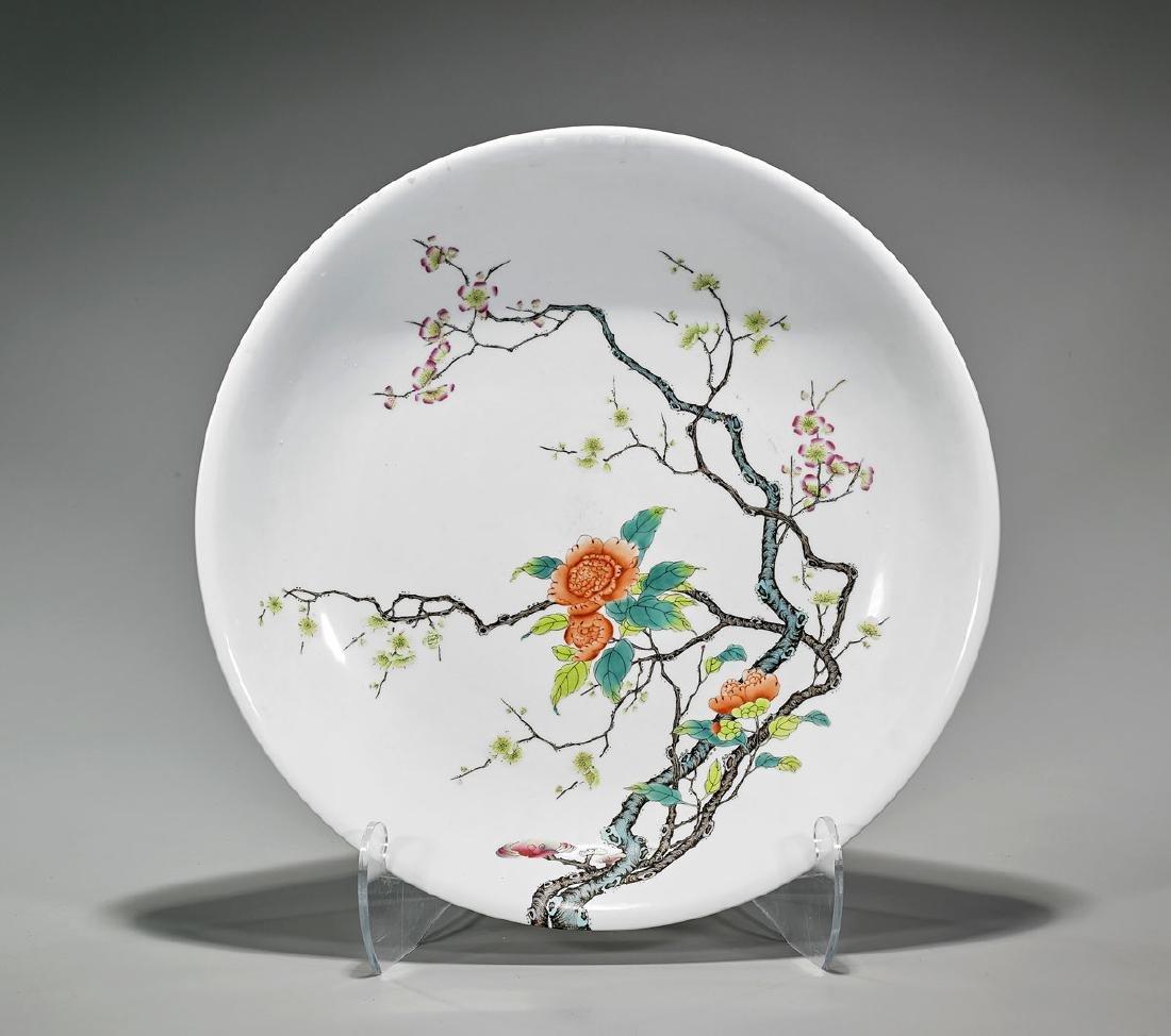 Large Qing-Style Enameled Porcelain Charger