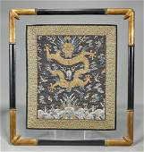 Old Elaborate Chinese Silk Embroidery Gilt Dragon