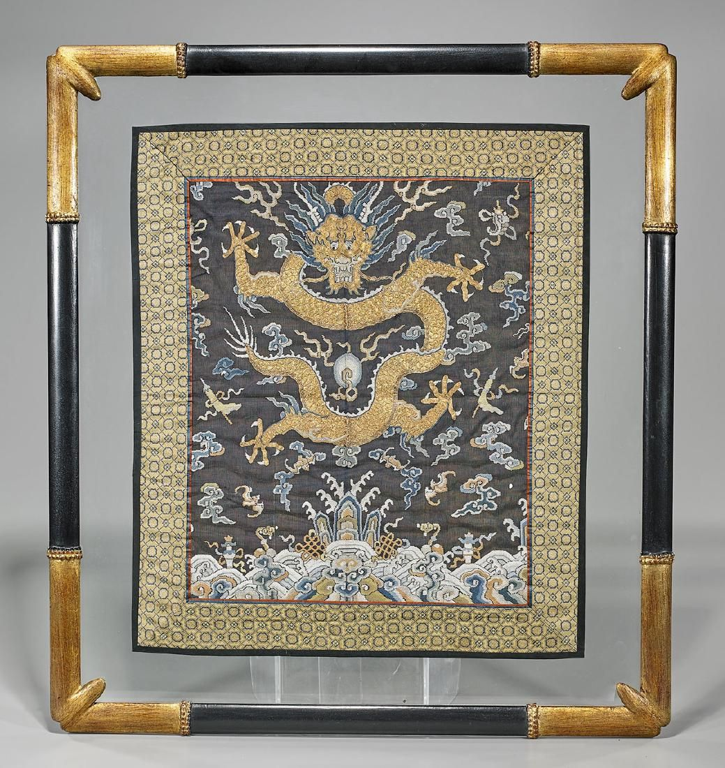 Old Elaborate Chinese Silk Embroidery: Gilt Dragon