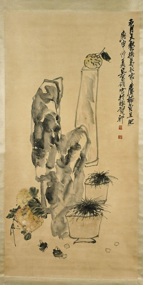 Group of Three Chinese Paper Scrolls: Fruits & Blossoms