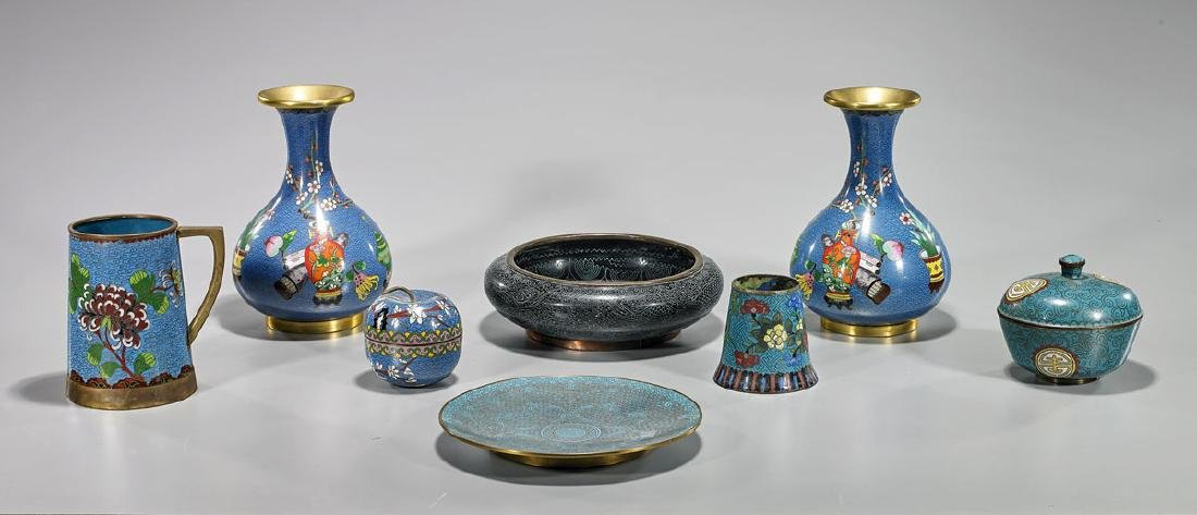 Group of Eight Old Chinese Cloisonne Enamel Pieces