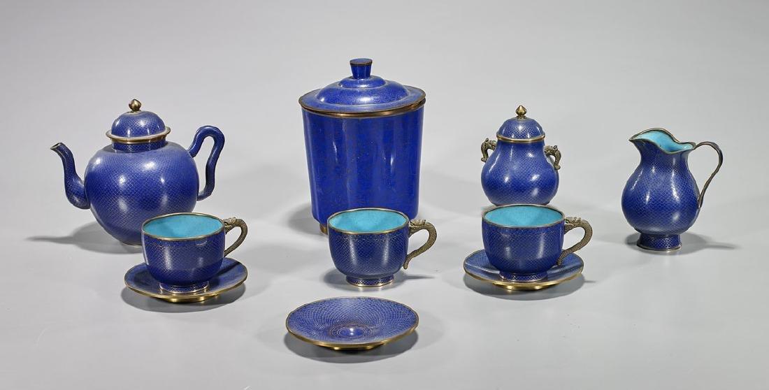 Old Chinese Cloisonne Enamel Tea Set & Covered Jar