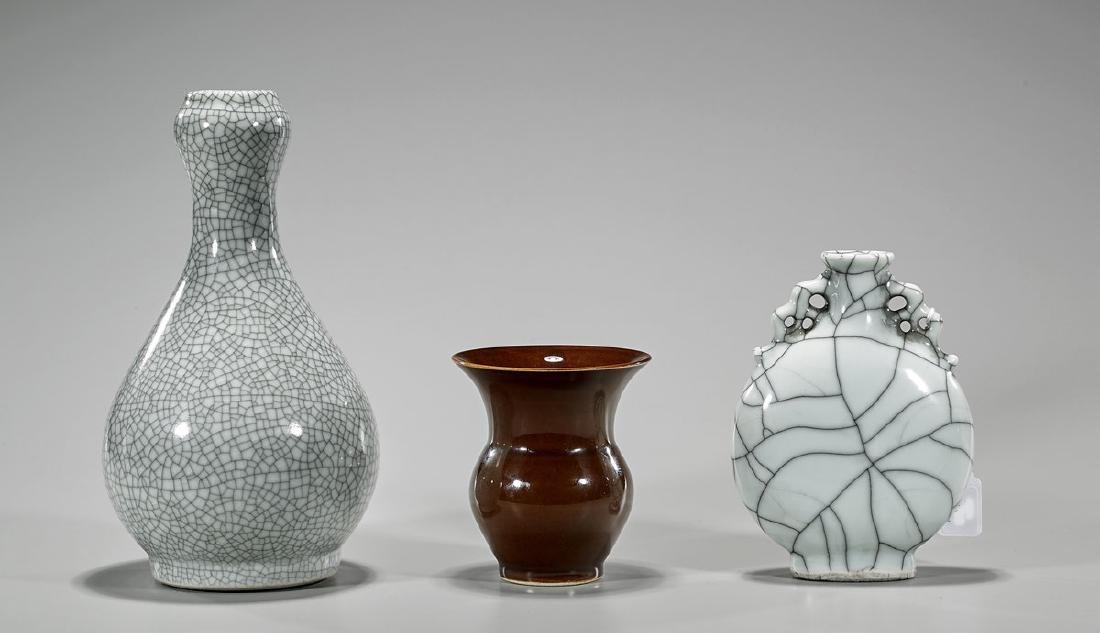 Three Ceramics: Moonflask & Two Vases