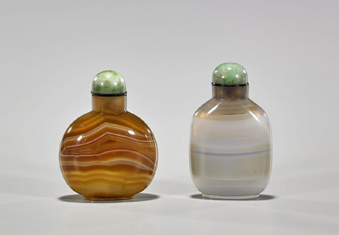 Two Antique Chinese Banded Agate Snuff Bottles
