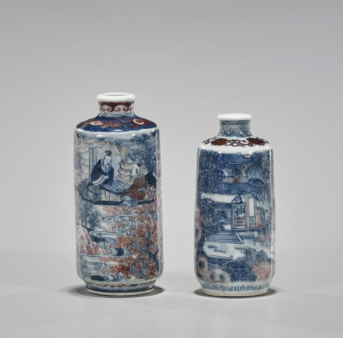 Two Antique Chinese Blue, White & Red Porcelain Snuff