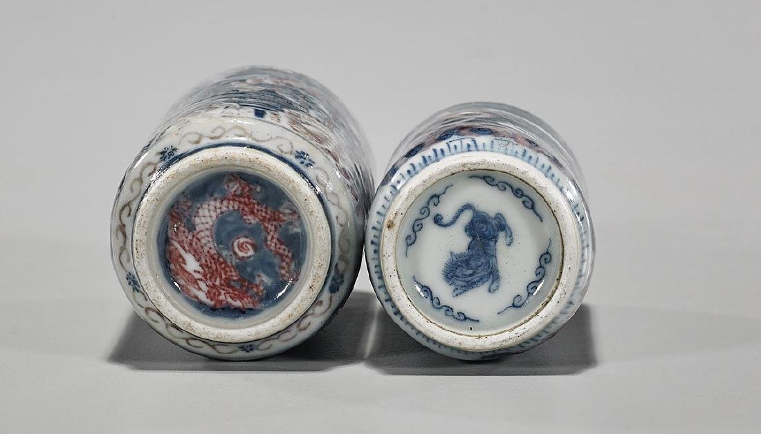 Two Antique Chinese Blue, White & Red Porcelain Snuff - 3