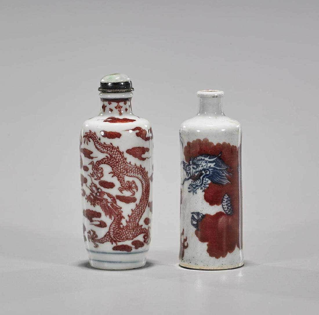 Two Antique Chinese Porcelain Snuff Bottles