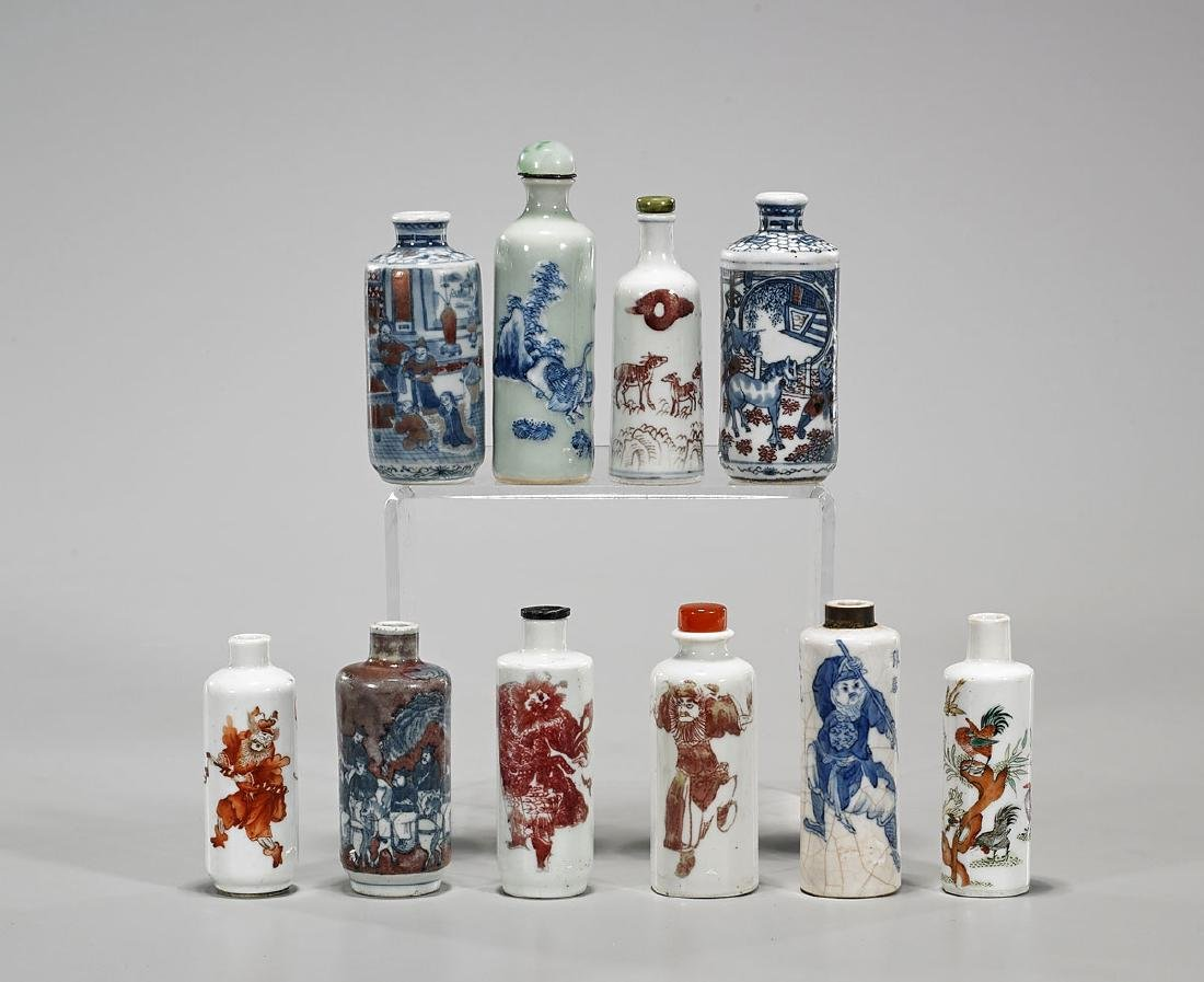 Collection Of Ten Antique Chinese Porcelain Snuff