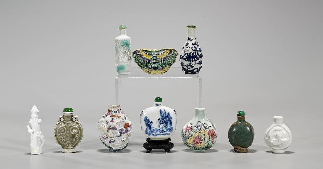 Ten Old & Antique Chinese Porcelain Snuff Bottles