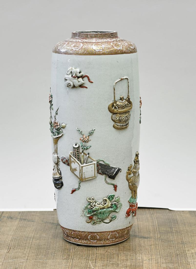 Tall Chinese Enameled Porcelain Umbrella Stand