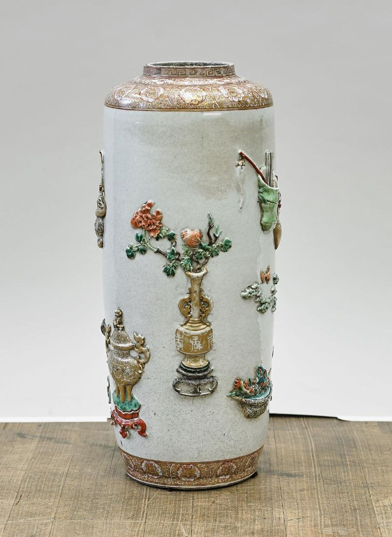 Tall Chinese Enameled Porcelain Umbrella Stand - 2